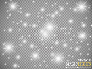 Vector white glitter abstract illustration. White star dust trail sparkling particles isolated on transparent background. Magic concept