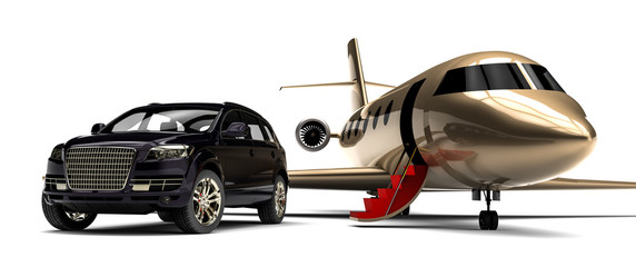 Luxury SUV with private Jet plane an red carpet  / 3D render image representing an luxury SUV with a plane and a red carpet