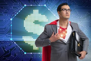 Superhero saving american dollar currency