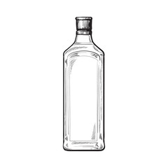 Traditional blue gin glass bottle, sketch style vector illustration isolated on white background. Realistic hand drawing of an unlabeled, unopened gin bottle