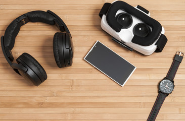 Virtual reality glasses and headphones with  smart phone.