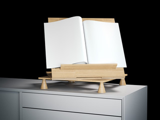 Wooden bookend with blank magazine. 3d rendering