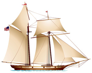 Coasting Schooner carrying US flag, gaff rigged schooner, sailing vessel realistic vector illustration