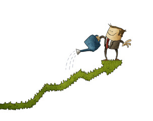 Business man climbed on a bush-shaped graph and watering it