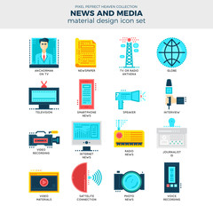 News And Media Flat Icon Set.