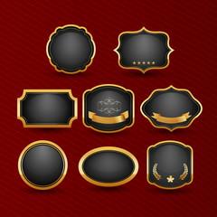 Collection of elegant black and golden design elements - buttons, badges, labels. Vector illustration.