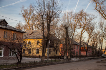 Old Soviet houses built by German prisoners after World War II in the late 40's