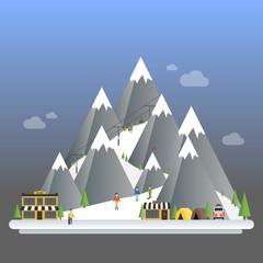 Ski Resort modern cartoon concept. Mountain landscapes. Vector flat illustration