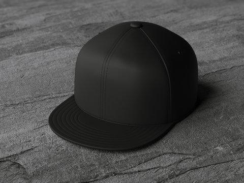 Black blank snapback. 3d rendering