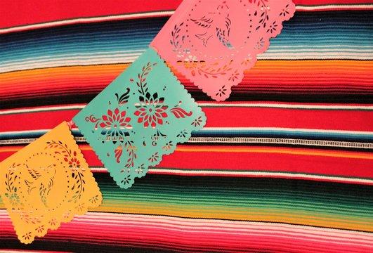 Mexican poncho serape background fiesta Mexico cinco de mayo day of the dead decoration bunting papel de picado copy space pattern blanket copy spacestock, photo, photograph, picture, image,