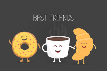 Best Friends coffee, croissant and donut character vector illustration set. Cartoon concept for kids menu