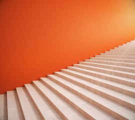 Blank orange wall and stairs