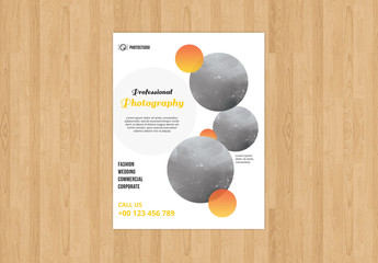 Photography Flyer Layout with Circle Design Element 1