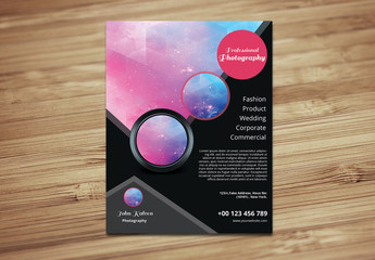Photography Flyer Layout with Circle Design Element 2