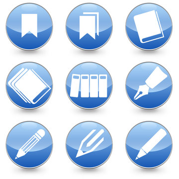 Pen Books Bookmarks vector icons black background