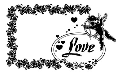 Cupid with bow hunting for hearts. Vector clip art.
