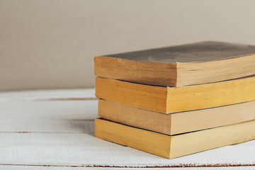 Wooden Bookshelf with old books. Close up image with copy space.