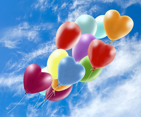 Image of beautiful colorful balloons on sky background.