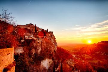 Coucher de soleil depuis le village des Baux-de-Provence