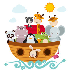 Childish style illustration of Noah's ark on the ocean waves and full of animals aboard (panda, penguin, elephant, giraffe, cat, rabbit, hippo, crocodile).