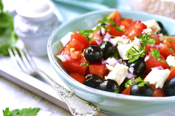 Tomato salad with feta.Top view.