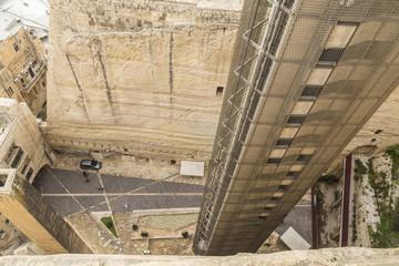 Lift from Grand Harbour at Valletta on Malta to Upper Barrakka Gardens.