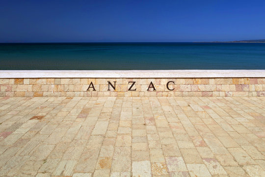 Wall with the word Anzac inscribed on it near Anzac Cove