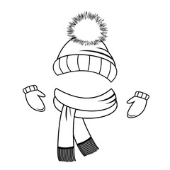 Collection of winter clothing. Hat, scarf and mittens. Coloring book