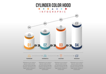 Colored Capped Cylinder Infographic