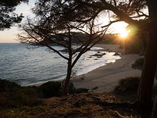 Zachód słońca, plaża Sa Conca, S'Agaro, Costa Brava, Hiszpania