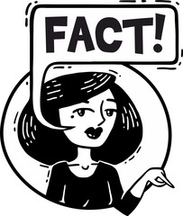 woman points to fact portrait comics