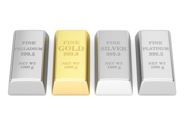 set of monetary metals ingots, 3D rendering