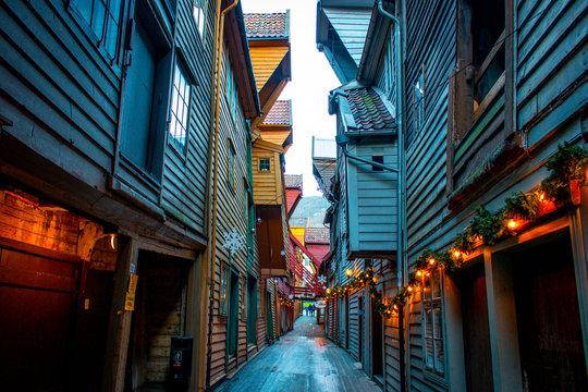 Norway Bergen wooden houses backyard of harbour hanseatic city for merchants