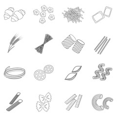 Types of pasta set icons in outline style. Big collection of types of pasta vector symbol stock illustration