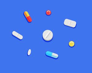 Colorful illustration of pills