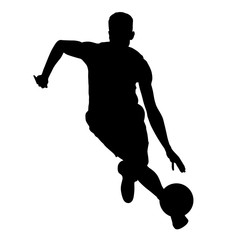 Basketball player running with ball, vector silhouette