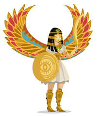 winged goddess of egypt with shield and scimitar sword