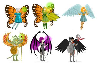 magic winged female hero and villain characters