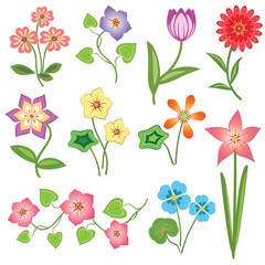 Spring flower icon set. Tulip, chamomile, daisy, anemone, petunia, orchid. Floral, nature, botany symbols. Colored signs with leaves on white background. Vector isolated
