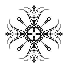 Laurel wreath tattoo. Unusual cross sign ornament. Black icon on white background. Defense, peace, glory symbol. Vector isolated