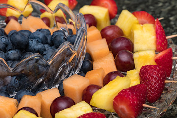 Fresh fruit tray on a crystal platter