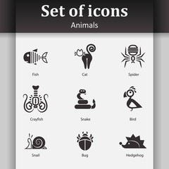 Set of icons in the form of abstract animals, insects and fish.