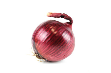 red fresh onion isolated on white background