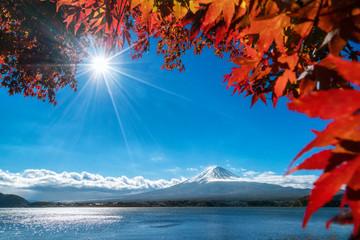 Wall Mural - Mt Fuji in autumn view from lake Kawaguchiko