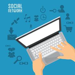 hand user laptop social network items vector illustration eps 10