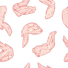 Chicken wing pattern including seamless on a white background. C