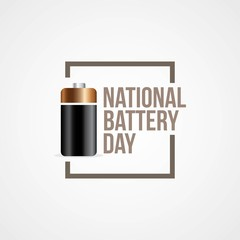 National Battery Day Vector Illustration.