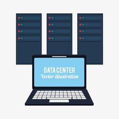 laptop data center system developer vector illustration eps 10