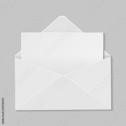 Open white envelope with invitation card realistic mockup isolat open white envelope with invitation card realistic mockup isolat stopboris Choice Image