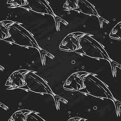 Mackerel pattern including seamless on a black background.